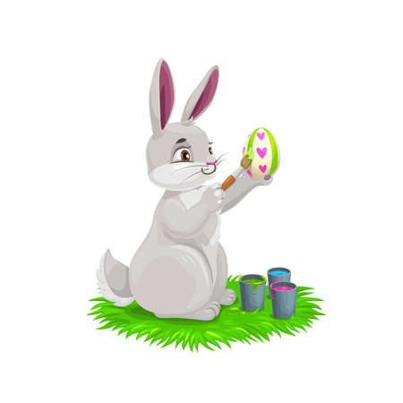 Bunny painting Easter holiday egg. Vector design of egghunting party. White rabbit or bunny cartoon animal decorating egg with paints and brush, Christian religion Resurrection Sunday