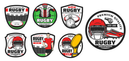 Rugby football sport game vector icons. Player, balls and play field, champion trophy cup, stadium and helmets, boots and jersey, referee whistles and stopwatch. Rugby sport symbols