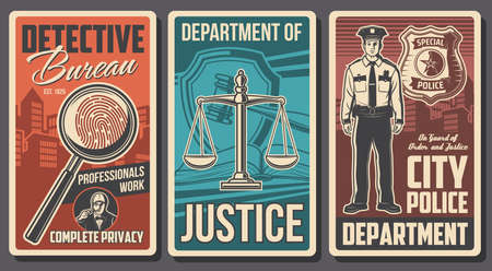 Detective, police and justice department, vector vintage posters. Detective investigation bureau and civil guard and state court. Policeman officer star badge, justice scales, fingerprint in magnifier Çizim
