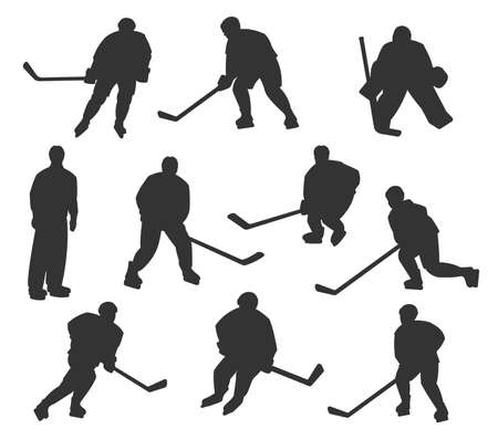 Ice hockey sport players vector silhouettes. Playing to ice hockey goalkeeper, forward, winger and defender players, referee with puck and stick in motion isolated on white background