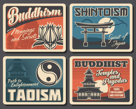 Japanese Buddhism, Shintoism and Taoism religion vector vintage posters. Japanese Buddhist religious travel and pilgrim tours to worship shrines, Shinto temples and Tao pagodas Illustration