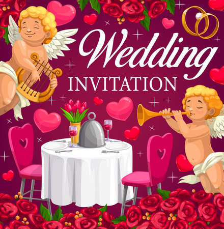 Wedding cupids and hearts, marriage ceremony vector invitation, diamond rings, rose flowers. Cupid angels playing music on harp and pipe, wedding party table with floral bouquet and wineglasses