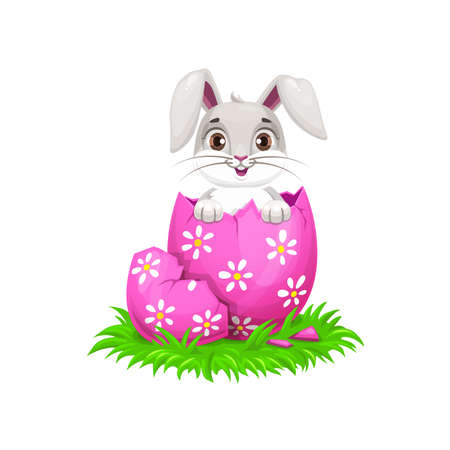 Cartoon Easter bunny and egg holiday egghunting. Cute rabbit or bunny animal hatched from painted egg with cracked pink shell, spring green grass and chamomile flowers