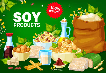 Soybean vector milk, tofu, miso sauce and oil, meat, skin and tempeh, soya plant sprouts and green pods, flour bag and noodles. Healthy vegetarian protein soybean food products