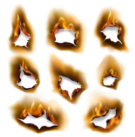 Burning fire flames and burnt paper holes with edges, vector realistic. Burned paper pages with abstract holes in fire flames, torn borders and ripped frames