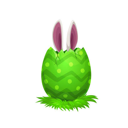 Easter egg with bunny ears, Easter religion holiday egghunting party. Vector rabbit or bunny animal hiding in green painted egg with cracked shell and pattern of stripes and dots, kids game