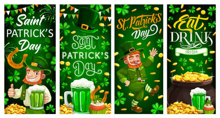 St Patricks Day leprechaun gold and clover leaves. Irish holiday. Vector banners of Irishman, Patricks Day hat, green ale beer and shamrocks, treasure pot with golden coins, horseshoe, firework