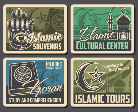 Mosques, Muslim Quran, moon and stars vector islam religion posters. Koran holy book, hamsa hand and crescent, dome and minaret mosque tower posters. Arabian culture and religion
