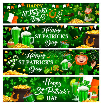 St Patricks Day green banners of Irish holiday clovers, leprechauns with pot gold. Vector shamrock leaves, lucky horseshoes and golden coins, green ale beer and drums of Patricks Day spring festival