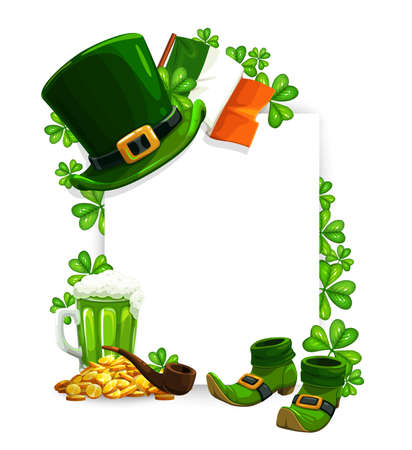 St Patricks Day vector greeting frame with Irish holiday clovers, leprechaun hat, boots and gold, shamrock leaves, green beer and Ireland flag. Spring religious festival celebration design