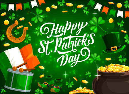 St Patricks Day holiday green clovers, leprechaun pot of gold and Ireland flag vector greeting card. Lucky golden coins and horseshoe, dwarf hat, treasure cauldron and spring Irish festival drum