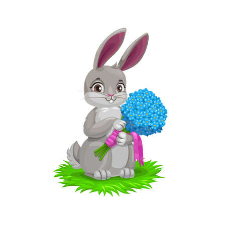 Easter bunny with flower bouquet, vector Easter holiday egg hunt party. Cartoon hare animal holding spring flowers of blue forget-me-not with pink ribbons