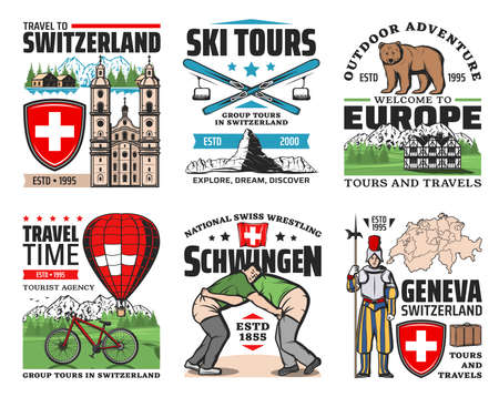 Switzerland travel, tours, landmarks and attractions sightseeing trip icons. Switzerland map, castles and temples architecture, Schwingen Swiss wrestling and Alpine skiing, hot air balloon Vektorgrafik