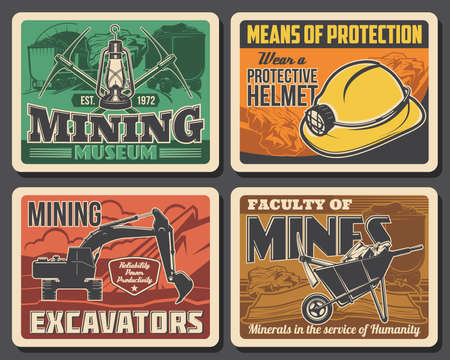 Mining industry coal mine machinery excavators and miner equipment museum vector vintage posters. Miner university and industrial production faculty on metal and iron ore extraction
