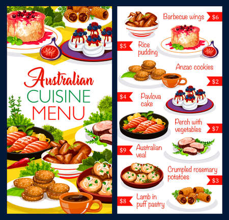 Australian cuisine food dishes menu, chicken, fish and pastry traditional meals, vector. Australia authentic food chicken wings barbecue, Anzac cookies and Pavlova cake, perch with vegetables and veal 向量圖像