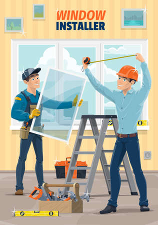 Window installer workers, house construction and carpenter service, vector. Plastic window glass installation, home remodeling, repair and renovation carpentry work tools, level and measuring tape