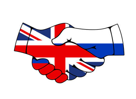 Russia and Great Britain collaboration partnership and cooperation, flag handshake vector icon. UK and Russian Federation international treaty, economics, politics, international friendship handshake