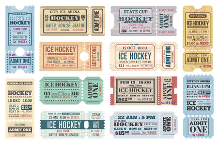 Ice hockey sport game retro tickets, hockey tournament championship and match admits. Ice hockey match cup and championship game vector tickets for game with seat, row and dates, perforated admits