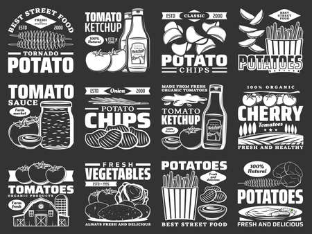 Potato food monochrome icons, tomato products and snacks, vector farm vegetables. Potato chips, tomato ketchup and wedge snacks, fast food fries and mashed potatoes recipe pack, organic vegetables