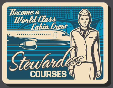 Stewardess training courses, flight attendant and air hostess, airplane cabin crew education, vector retro poster. Airline stewardess professional training and aviation crew staff service academy