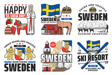 Sweden icons, travel, holiday and Swedish culture, vector Stockholm landmarks and horse symbol. Welcome to Sweden flag, ski resort and Christmas St Lucia day celebration, city sightseeing tours
