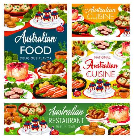 Australian cuisine food dishes, menu meals, Australia chicken and fish food, drinks, vector. Australian traditional Pavlova cake and Anzac cookies, veal meat, lamb in puff pastry and rice pudding