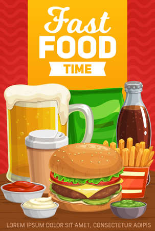 Fast food burgers, drinks and snacks, vector menu. Fastfood hamburger, sandwich meals, soda bottle and potato fries, cheeseburger and ketchup, fast food cafe, bistro, coffee cup and chips