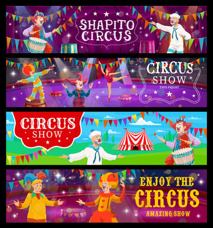 Big top tent circus banners, funfair carnival show clowns and acrobats, vector. Big top circus shapito tent marquee and arena stage with bunting flags, clowns and equilibrists in spotlight