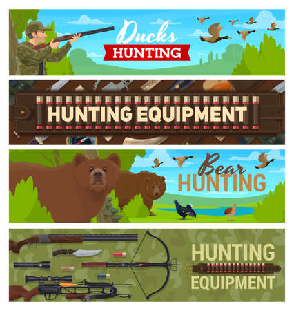 Hunting sport items and equipment, hunter with rifle ammunition on hunt for forest birds and animals. Hunting for ducks and wild bear, binoculars, bandoleer bullet cartridge belt and crossbow
