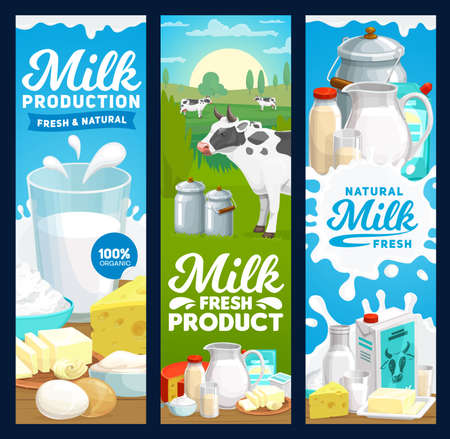 Farm dairy and milk products banners, vector farm and food yogurt and butter. Dairy farm cow and agriculture food products, natural milk in pitcher jug, butter, cottage cheese, cream and yogurt