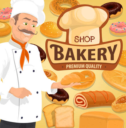 Bread and pastry, confectionery and patisserie chef vector. Bread and cakes menu, croissant and baguette, sweet buns and wheat toasts, donuts sweet rolls, baker in toque hat with bun