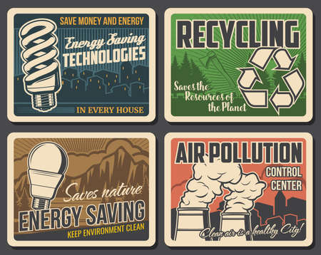 Recycling, pollution and environment poster, earth ecology and green energy, vector. Global warming problem, energy saving lamp bulb technology, save planet resource and stop air pollution sign Illustration