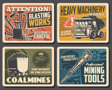 Coal and ore mining posters, mine industry factory and miner equipment, vector. Ore and coal deposit mining excavators and loader trucks machinery, miner equipment wheelbarrow, jackhammer and pickax Vettoriali