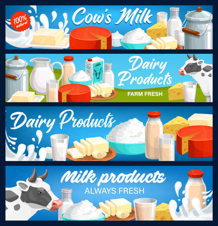 Dairy and milk products banners, farm cheese, butter and yogurt food, vector. Dairy farm agriculture food products, natural milk in pitcher jug, butter, cottage cheese, sour cream and yogurt