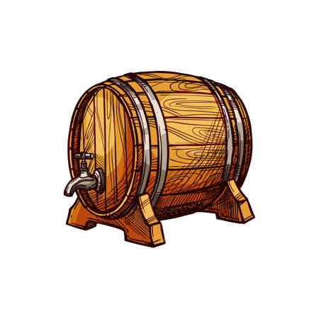 Barrel with tap, wine or beer alcohol drinks keg isolated sketch. Vector wooden container with faucet