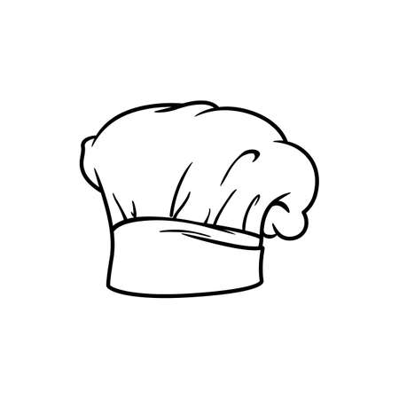 Chef hat isolated linear icon. Vector traditional chef-cook cap with folds, baker headwear