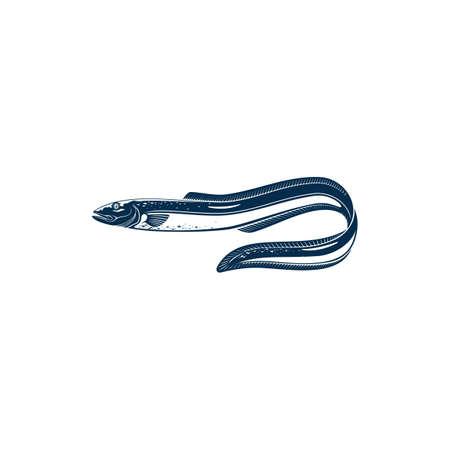 Eel-shape fish isolated monochrome icon. Vector sea electric eel, marine underwater animal. Knifefish Electrophorus electricus, exotic fish inhabit fresh water. Uncooked fresh eel hand drawn