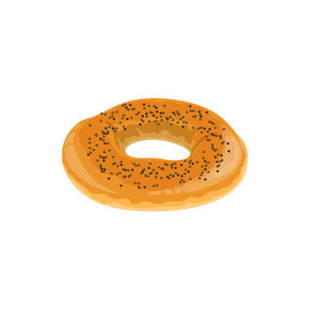 Bagel roll with poppy isolated bread. Vector round pastry, baked food with seeds