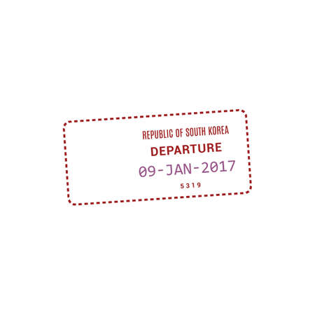 Republic of Korea departure stamp vector isolated icon. Approved pass insignia in international passport Illustration