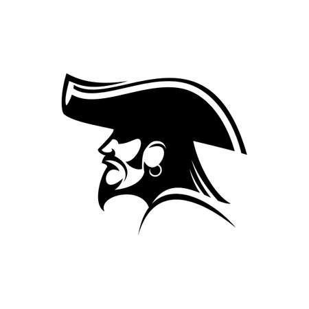 Bearded pirate with earring and captain hat isolated silhouette. Vector sea bandit, person attacking ships