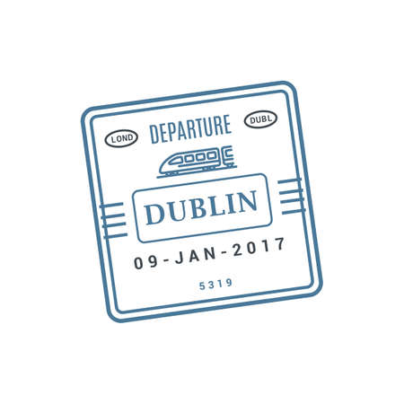 Dublin train ticket, railway arrival stamp isolated vector. Arrival or departure visa, passport control stamp
