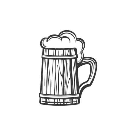 Wooden mug of beer isolated alcohol drink monochrome sketch. Vector Oktoberfest holiday symbol, cider beverage with foam. Light or dark ale in lager, wooden glass with handle, brewery product