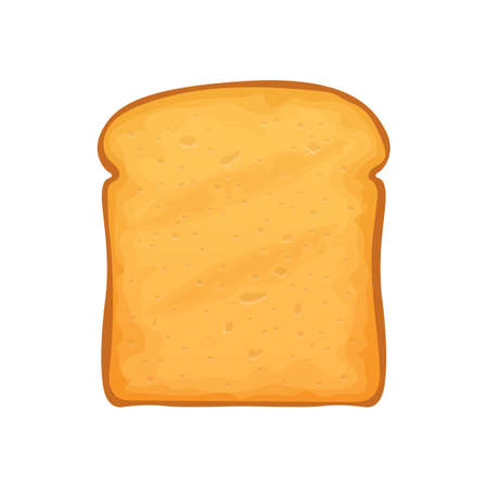 Loaf of roasted crouton isolated slice of white bread. Toasted piece of bakery food, french sandwich