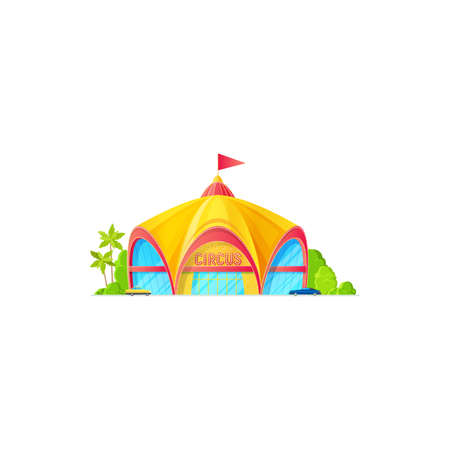 Facade of big top circus, flag on roof isolated building exterior with parking zone. Vector marquee awning with flag on roof, entertainment or performance arena, amusement shed, palm trees and bushes