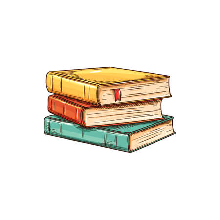 Stack of textbooks with bookworm isolated sketch. Vector pile of books, education and knowledge symbol. Studying, learning and reading literature, stacked color old vintage books in hardcover