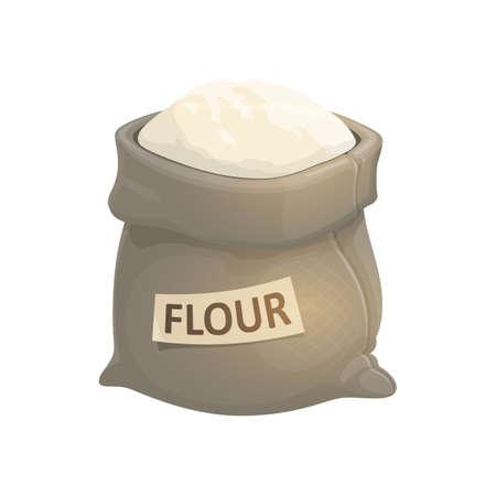 Whole sack of flour isolated bakery powder. Vector bag of meal, grinned grain Ilustração
