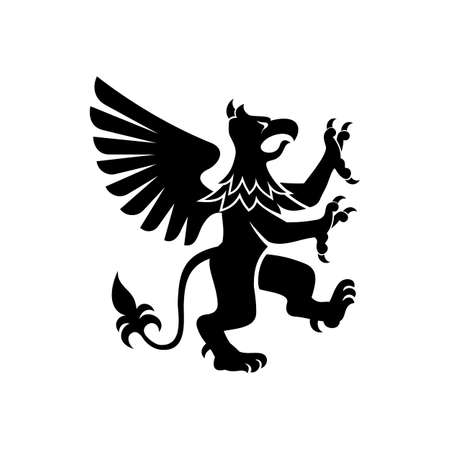 Griffin with body, tail, and hind legs of lion. Head, wings, talons front feet of eagle isolated vector creature