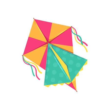 Kites in shape of bird, fish or insects, entertainment and active pastime. Vector toy of paper or fabric, butterfly and dragonfly, ladybug. Flying object, childish game, summer festival, isolated Ilustração