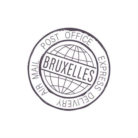 City of Brussels post office stamp isolated air mail express delivery sign. Vector Bruxelles international postal global service icon, emblem of Dutch mailing postage, ink seal stamp on correspondence Vecteurs