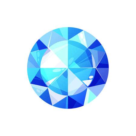 Swiss topaz, sapphire cut crystal isolated. Vector blue diamond, luxury brilliant, turquoise gemstone